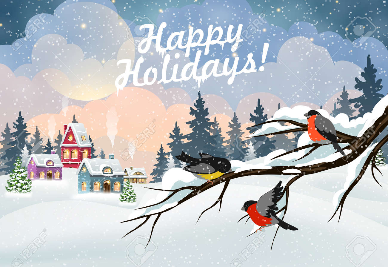 Winter Christmas landscape with village houses covered with snow in a pine forest and bullfinches on a branch - 160677781