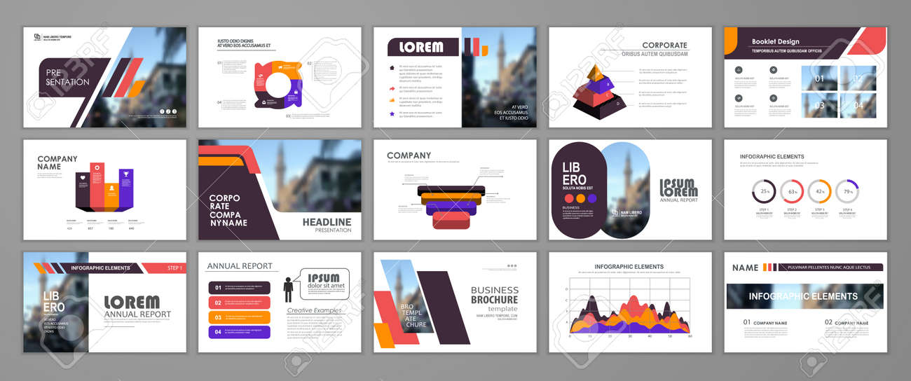 Abstract presentation slide templates. Infographic elements template set for web, print, annual report brochure, business flyer leaflet marketing and advertising template. Vector Illustration - 161419982