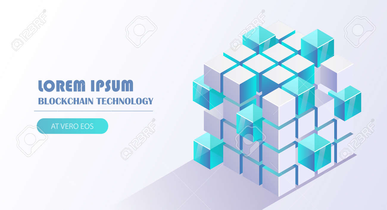 Blockchain technology vector illustration with cube block link to chain background, financial technology, cloud computing, distribution, mining pool concept. - 162388996
