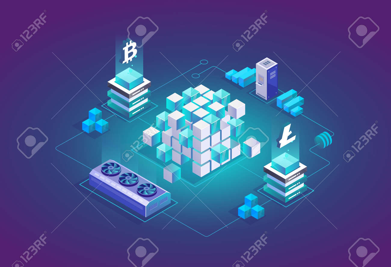 Mining Bitcoin and Litecoin crypto currency in isometric 3d design. Cryptocurrency exchange vector illustration - 162389000