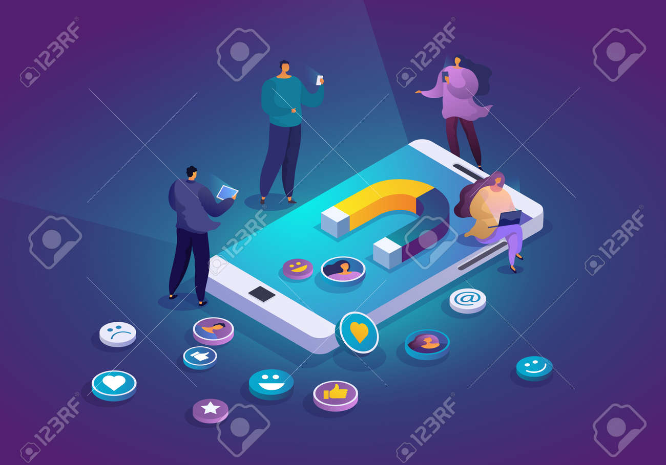 Smartphone with magnet attracting social media followers and users. Web traffic attraction. People commenting online, sharing and liking posts. Digital marketing and online influence isometric concept - 162389054