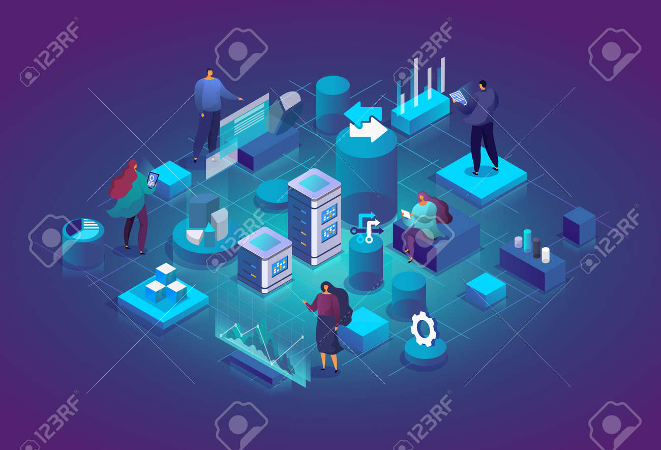 People with charts and graphs interact with each other and analyze statistics. Software, web development, programming. Technology process of Software development concept. Vector 3d isometric illustration - 162389058