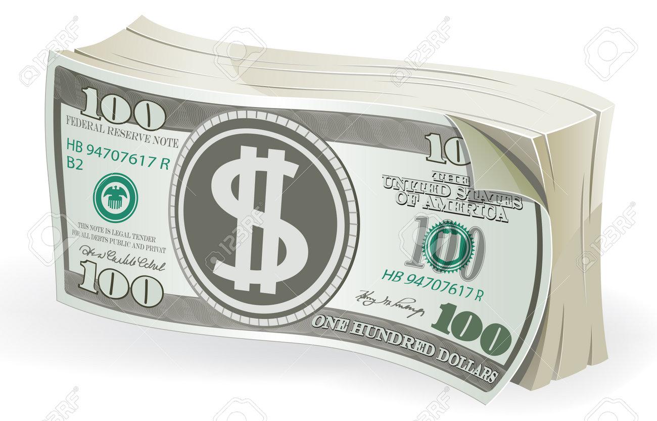Bundle of one hundred dollar bills on white background. Vector illustration - 162664045