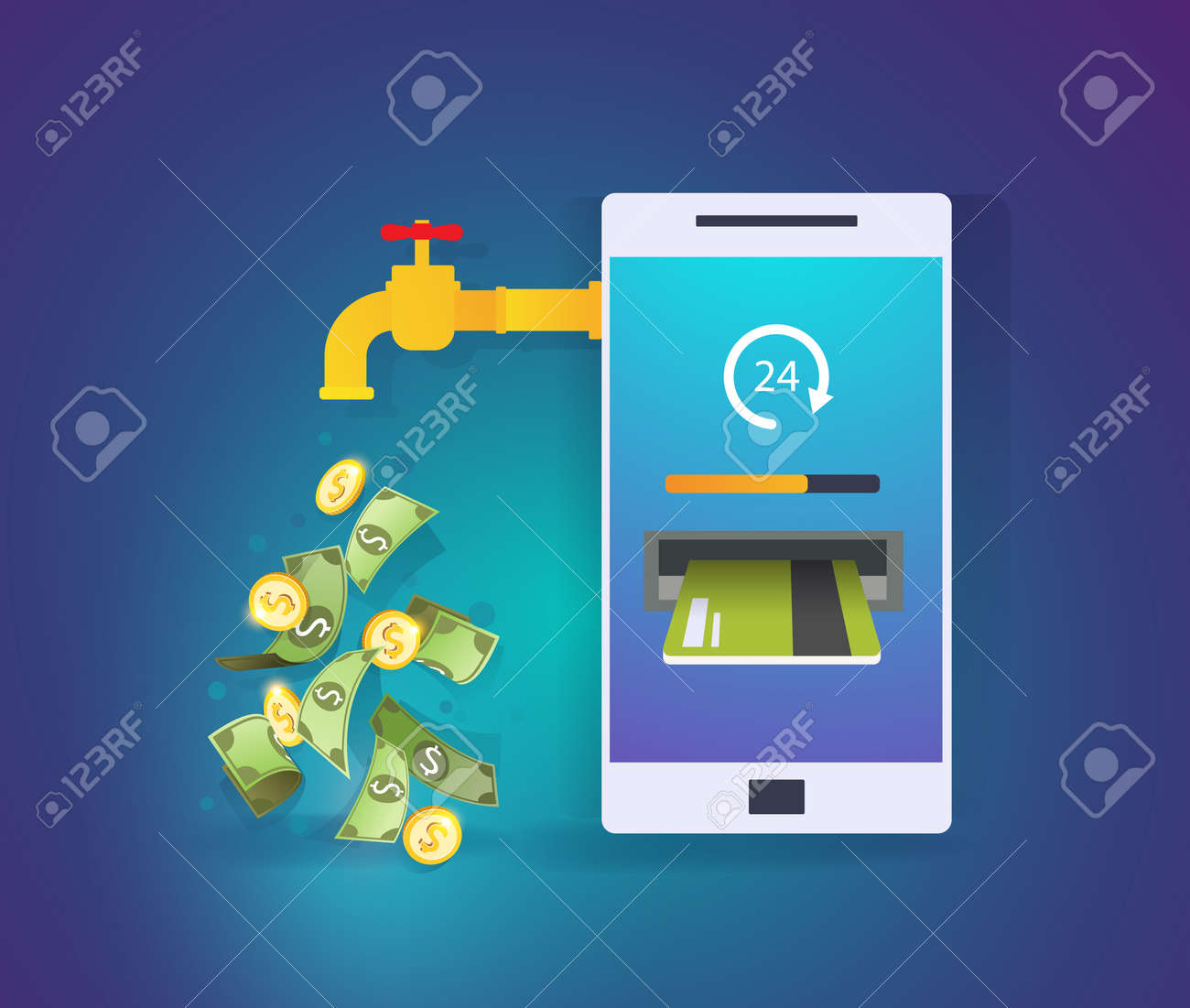 Smartphone with credit card and cash. Mobile banking application. Online payment, cash transaction, passive income concept. Business Vector Illustration - 162664048