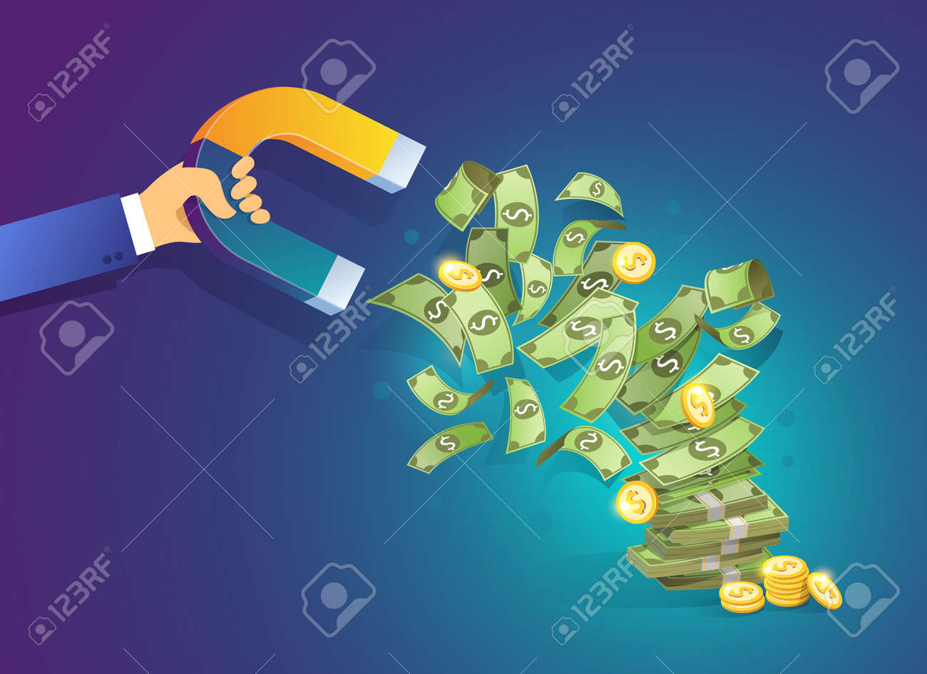 Hand holding a magnet attracting money. Isometric vector concept of attracting investments, money, business, success. Illustration for web site page and mobile app - 162664049