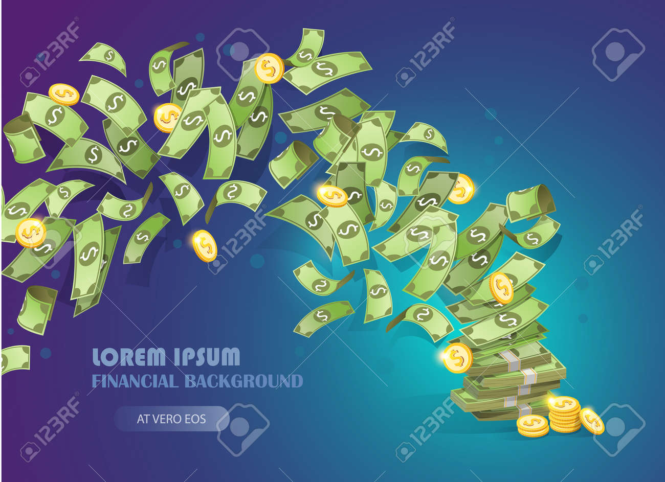 Flying bills and coins. Cash income and business success concept. Money background vector illustration - 162664056