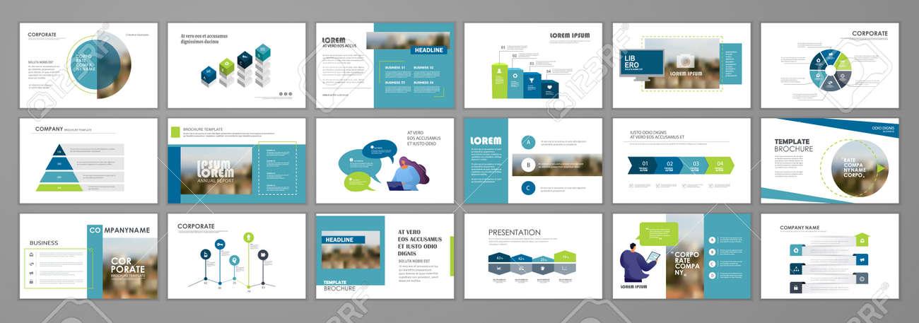 Business presentation infographic elements template set. Keynote presentation background, slide templates design, website ideas, brochure cover design, landing page, annual report brochure. Vector Illustration - 163646582