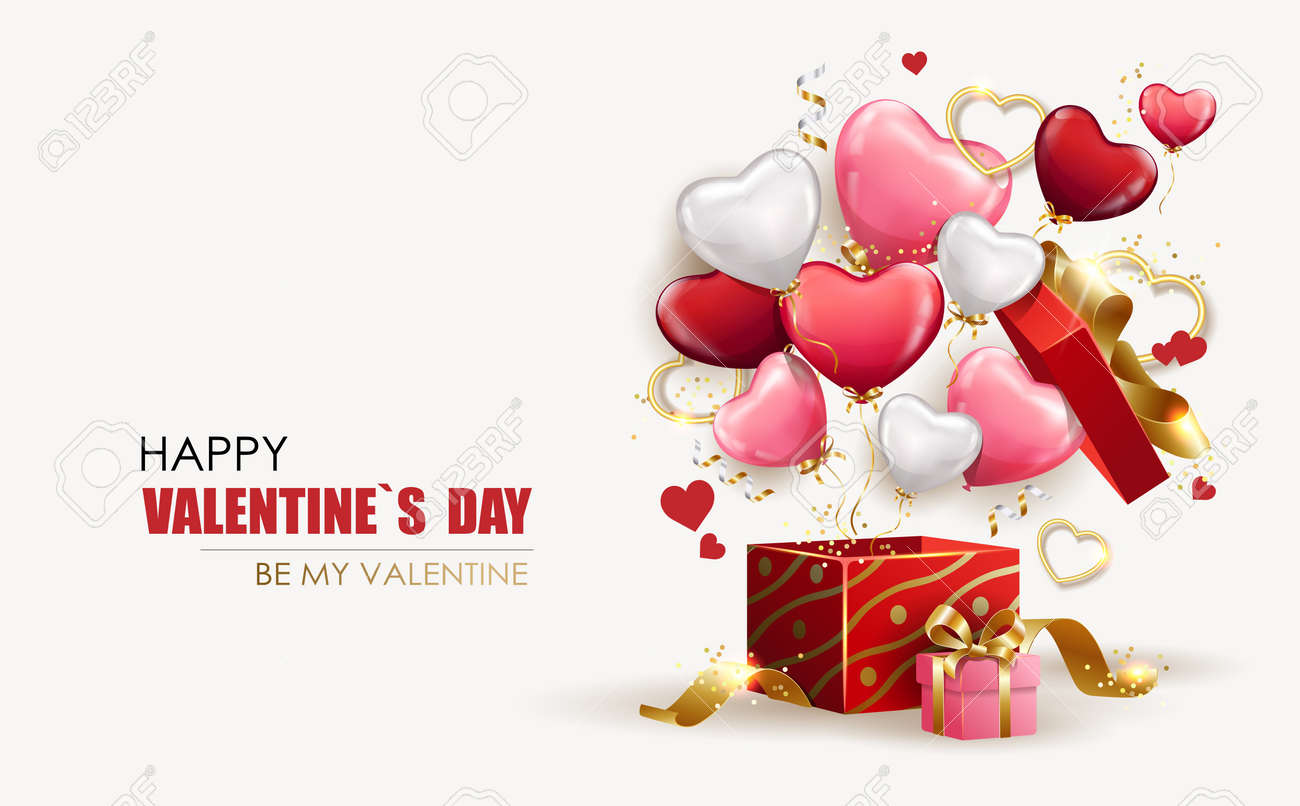 Happy Valentine's Day background with open gift box from which heart shaped balloons fly out. Holiday flyer and brochure design. Sale banner template, festive poster. Vector illustration - 164204700