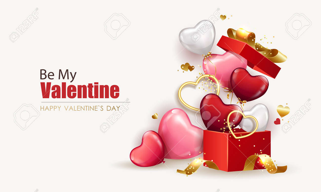 Happy Valentine's Day background with open gift box from which heart shaped balloons fly out. Holiday flyer and brochure design. Sale banner template, festive poster. Vector illustration - 164579716