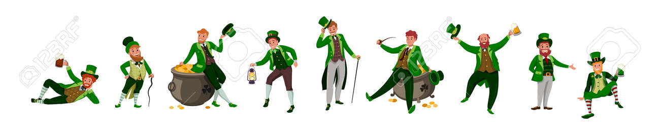 Irish fantastic character leprechaun set in different poses. Saint Patrick's day vector cartoon characters on white background - 165902553