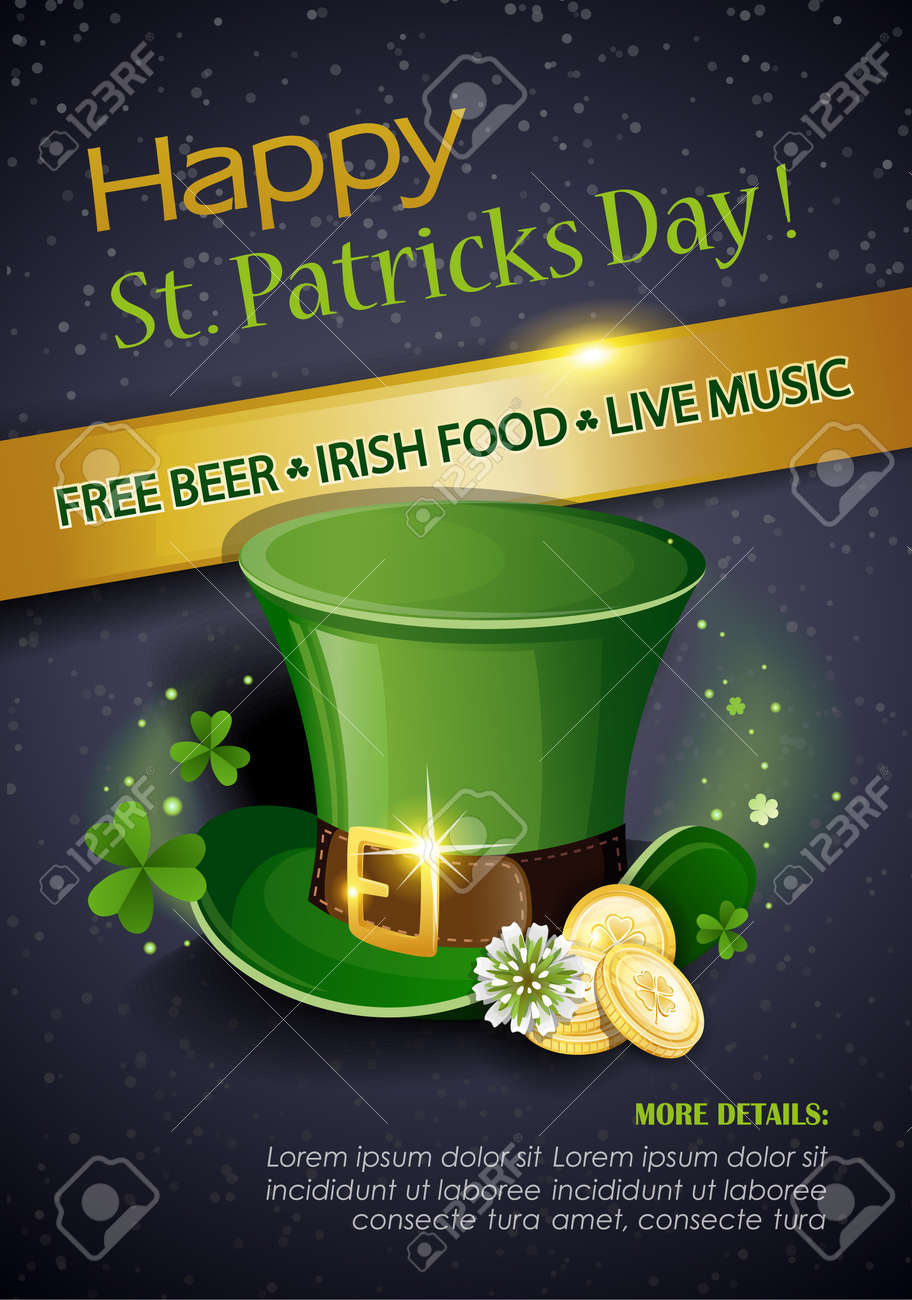 St. Patrick's Day Traditions and Symbols party flyer, brochure. Leprechaun hat with gold coins, shamrock, on black background. Vector illustration. - 165902554