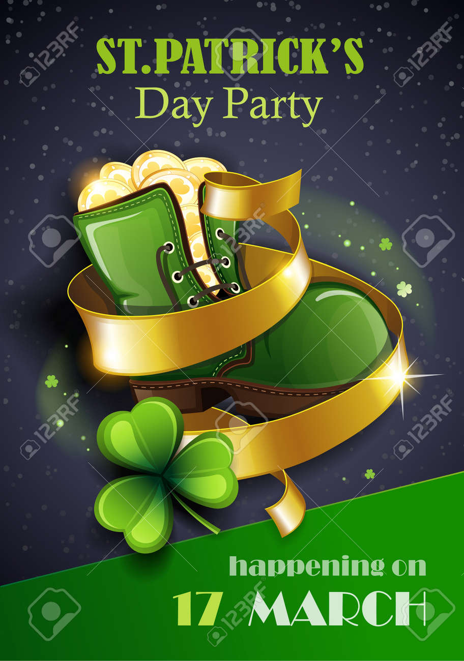 St. Patrick's Day Traditions and Symbols party flyer, brochure. Leprechaun shoe with gold coins, shamrock, on black background. Vector illustration. - 165902556