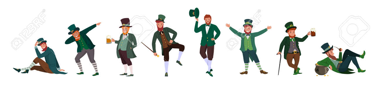 Irish fantastic character leprechaun set in different poses. Saint Patrick's day vector cartoon characters on white background - 164253793