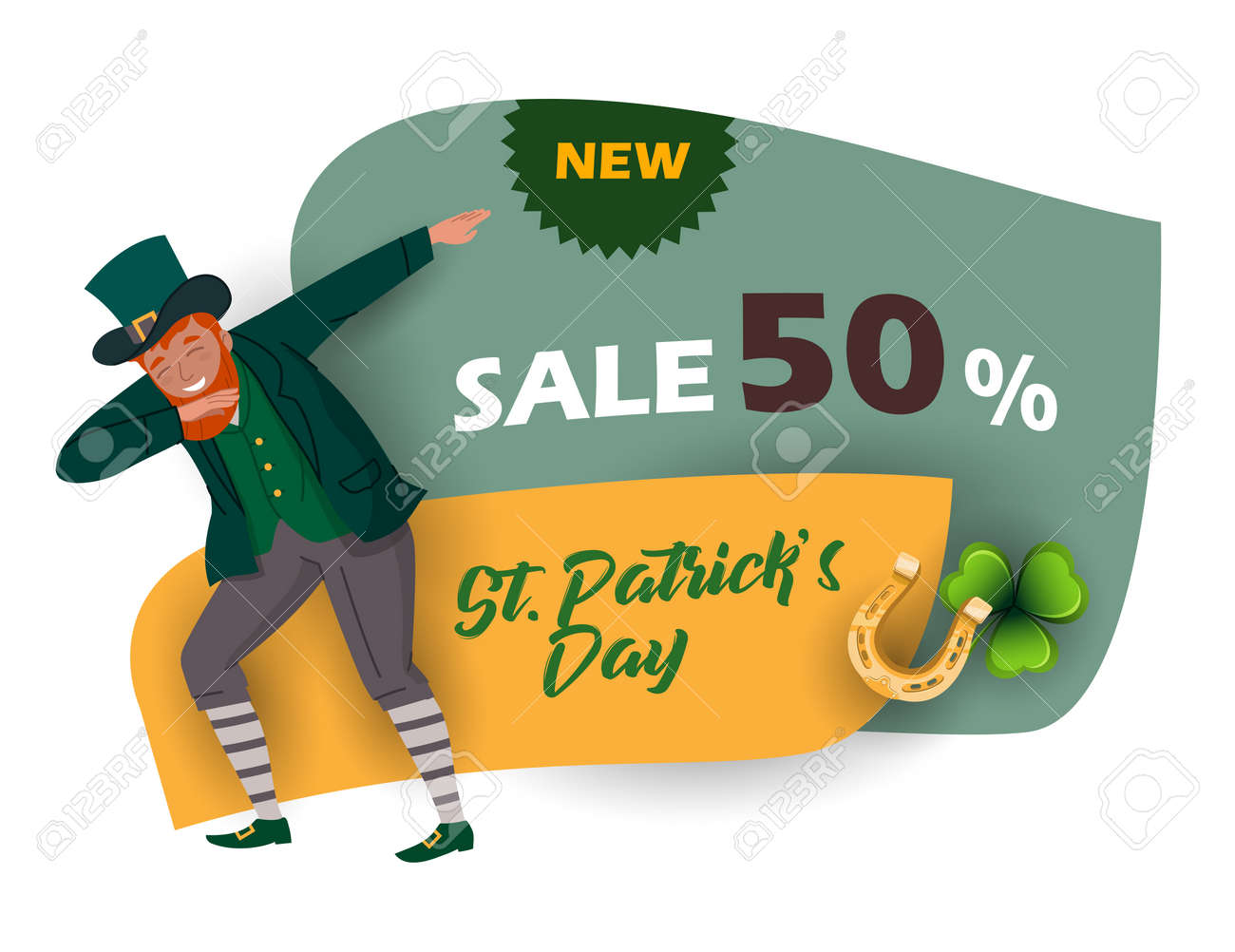 St. Patrick's Day discount and sale sticker with Irish fantastic character Leprechaun. Special offer banner Vector design - 164771742