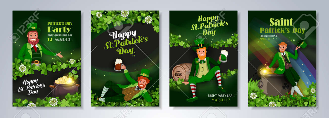 Irish fantastic characters leprechauns in different poses on green background. Saint Patrick's Day party flyer, brochure, holiday invitation. Vector illustration. - 164982184