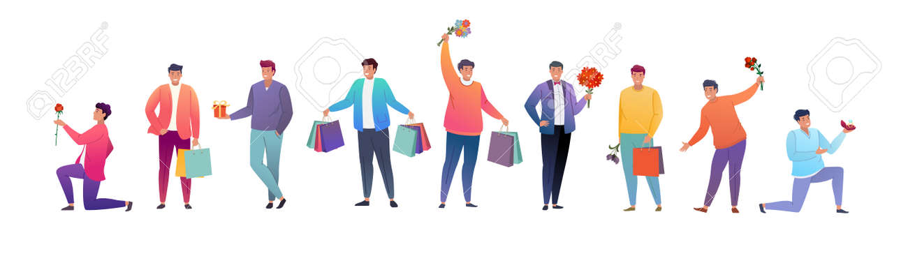 Group of young men with gifts and flowers. Flat cartoon characters for birthday greetings, weddings, March 8, and other holidays. Vector illustration. - 165233284
