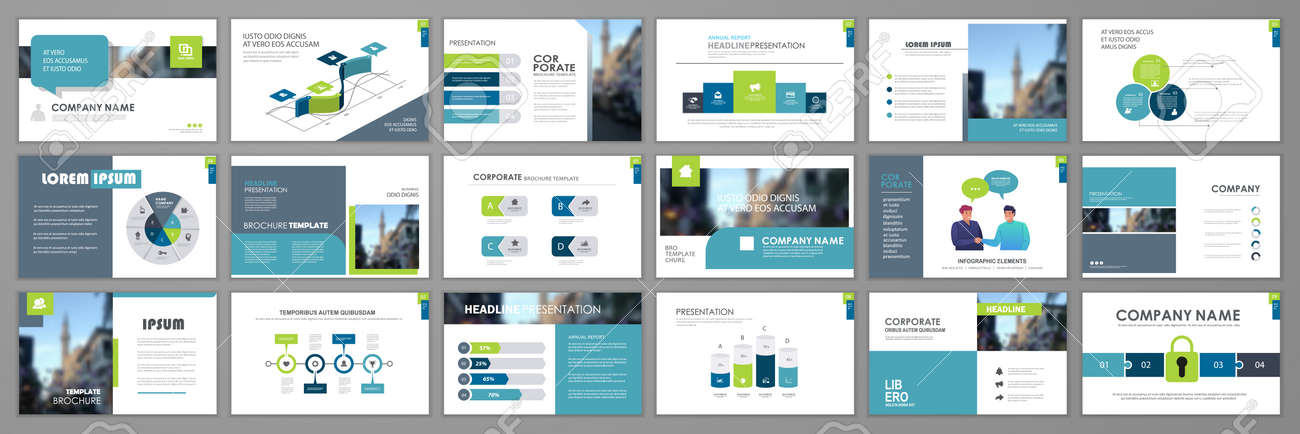 Business presentation infographic elements template set. Keynote presentation background, slide templates design, website ideas, brochure cover design, landing page, annual report brochure. Vector Illustration - 165880656