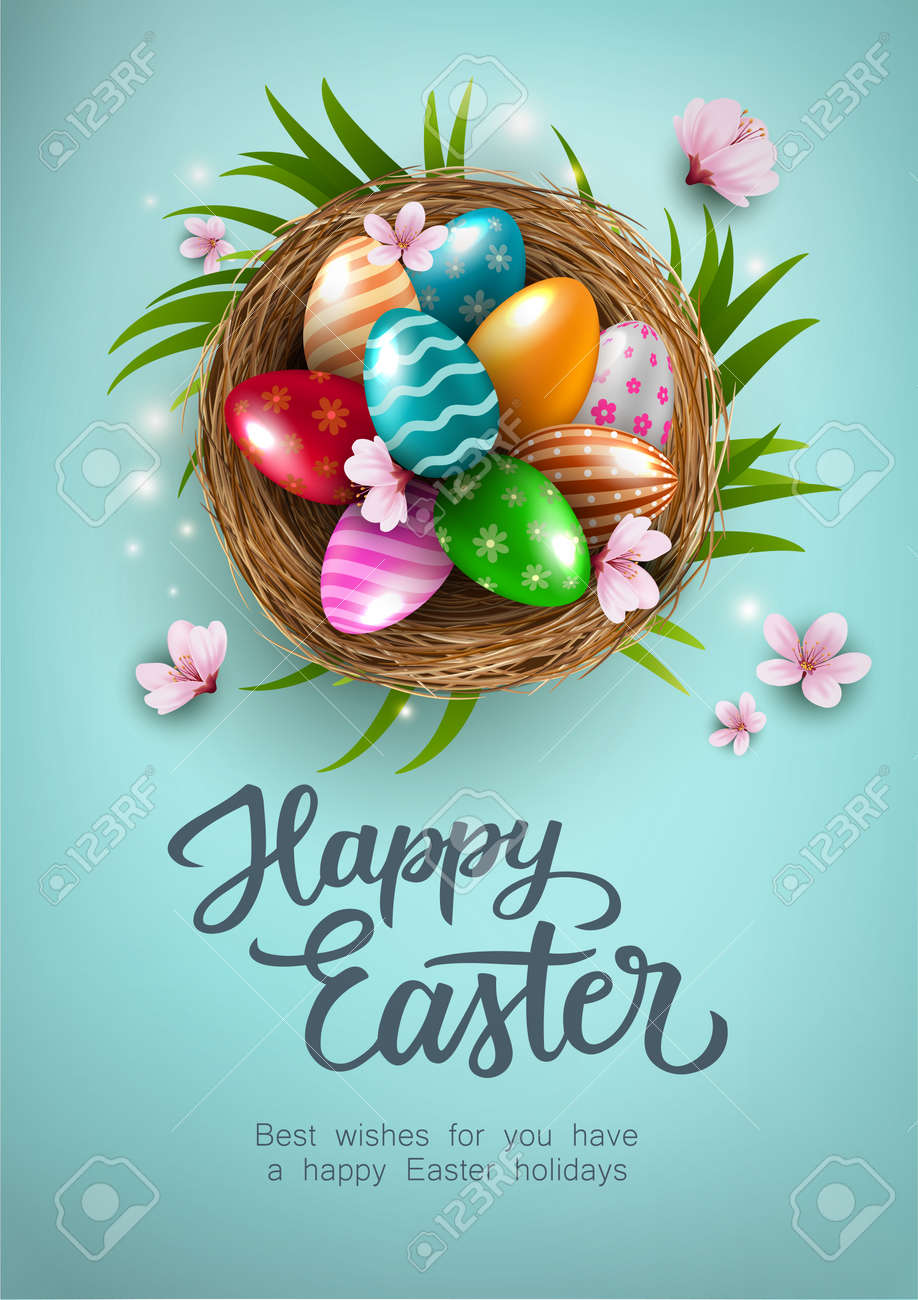Happy Easter Poster with colorful easter eggs in the nest, and flowers on blue background. Gift and invitation greeting card template for Easter Day. Shopping banner template, sale and discounts. Vector illustration - 167175168