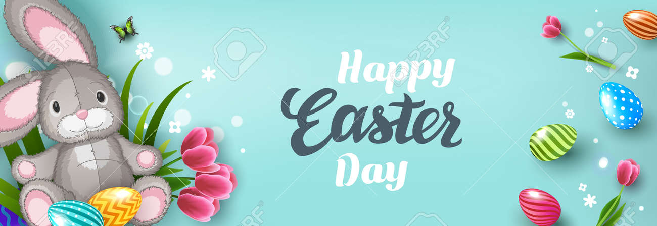 Happy Easter greeting card with Easter bunny, Easter Eggs and flowers on blue background. Gift and invitation flyer layout for Easter Day. Easter Shopping discount poster template. Vector illustration - 167789185