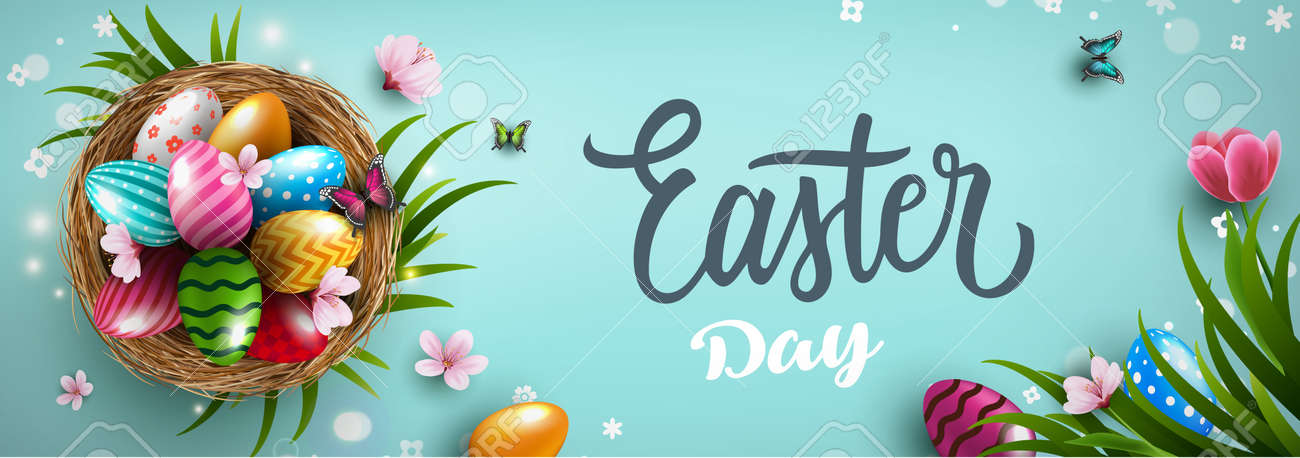Happy Easter greeting card with easter eggs in the nest, grass and flowers on blue background. Gift and invitation flyer layout for Easter Day. Easter Shopping discount poster template. Vector illustration - 167789189