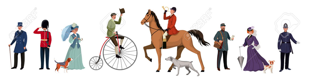 Group of people of different genders, professions in different clothes. British retro style people characters on white background. Flat cartoon characters set. Vector illustration. - 168423013