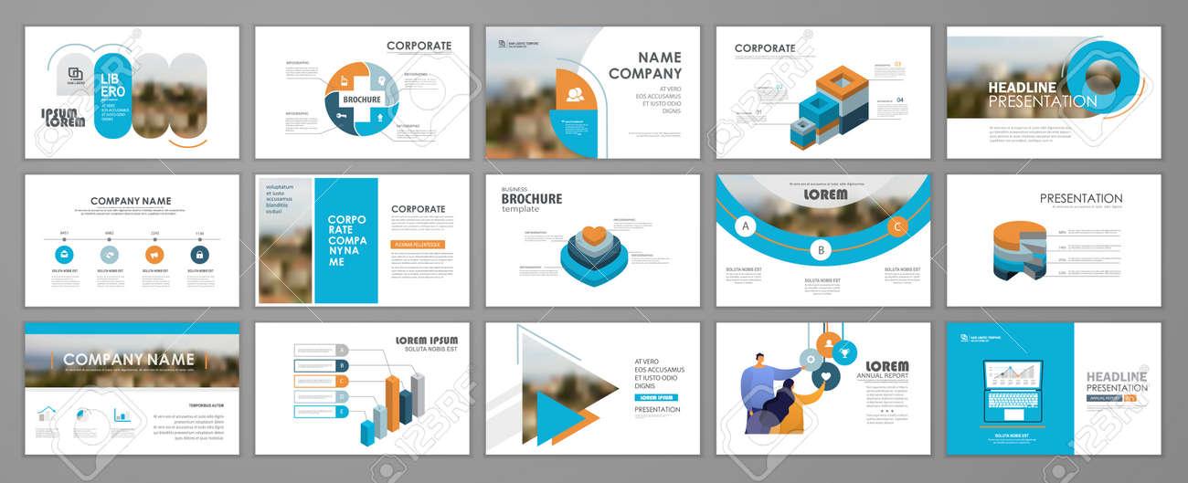 Presentation slide layout background. Blue and orange design brochure template. Use in presentation, flyer, leaflet, banner, corporate report, annual report, marketing, advertising. - 168423014