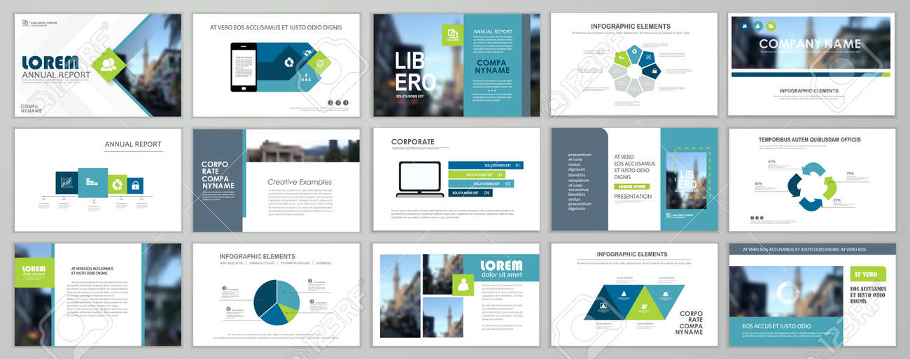 Presentation slide layout background. Blue and green design brochure template. Use in presentation, flyer, leaflet, banner, corporate report, annual report, marketing, advertising. - 168423015