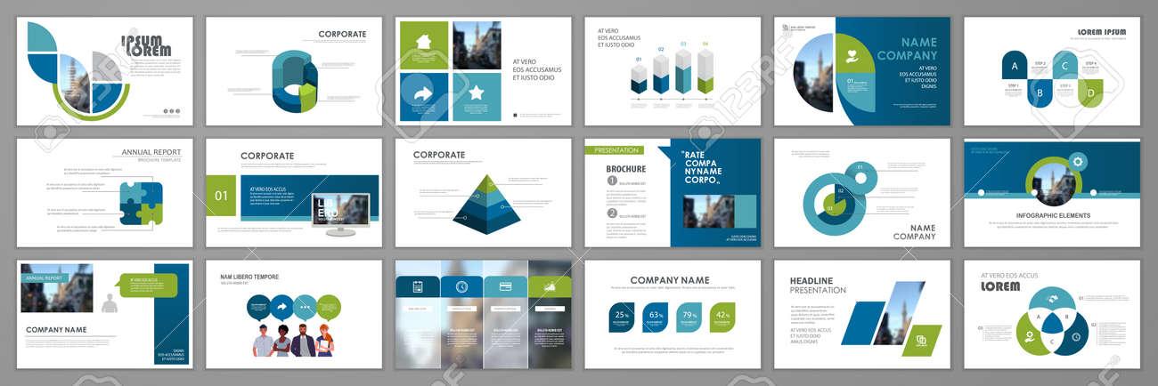 Business presentation infographic elements template set. Keynote presentation background, slide templates design, website ideas, brochure cover design, landing page, annual report brochure. Vector Illustration - 168423016