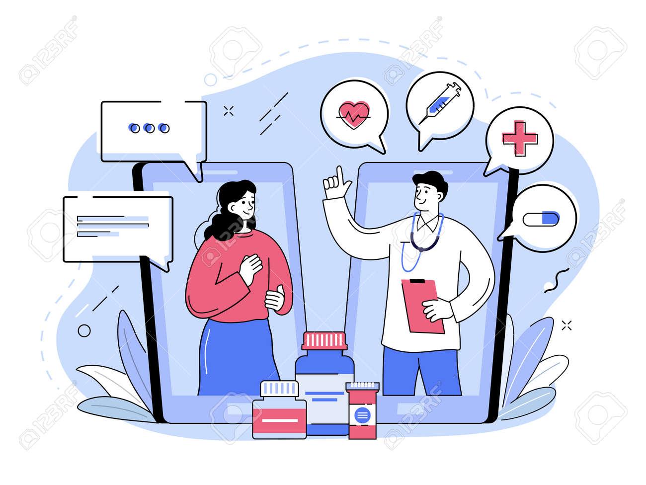Online medical assistance, doctor consultation via smartphone. Outline vector illustration - 169786471