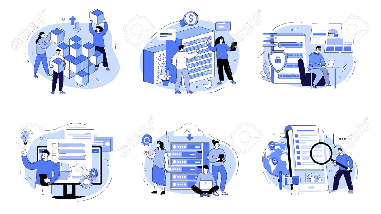 Business intelligence, information analysis, market research strategy, analytics software. Business analysis concept with characters. Vector illustration for web banner, landing page, web template. - 169786483