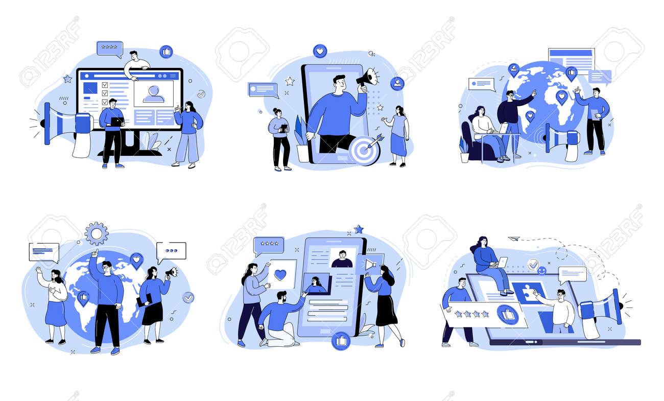 Social media promotion and customer attraction. Digital marketing team lead concept. SMM campaign. Internet advertisement announcement. Vector concept creative illustration - 169786484