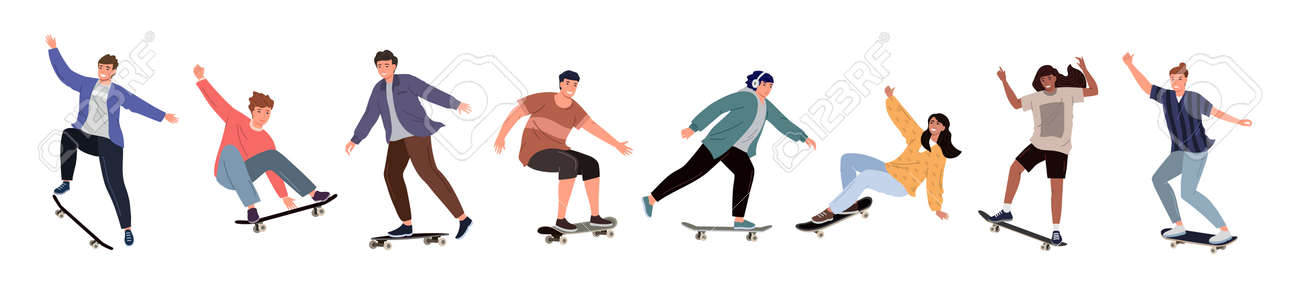Set of diverse people riding a skateboard. Colored flat vector illustration of skateboarders in different poses isolated on white background - 172322062
