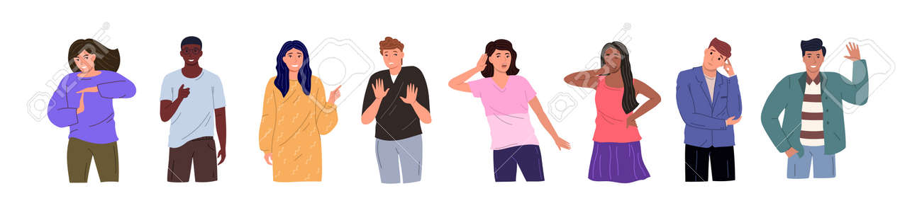 Group of young people of different races and cultures isolated on a white background. Flat cartoon characters set. Vector illustration. - 172323025