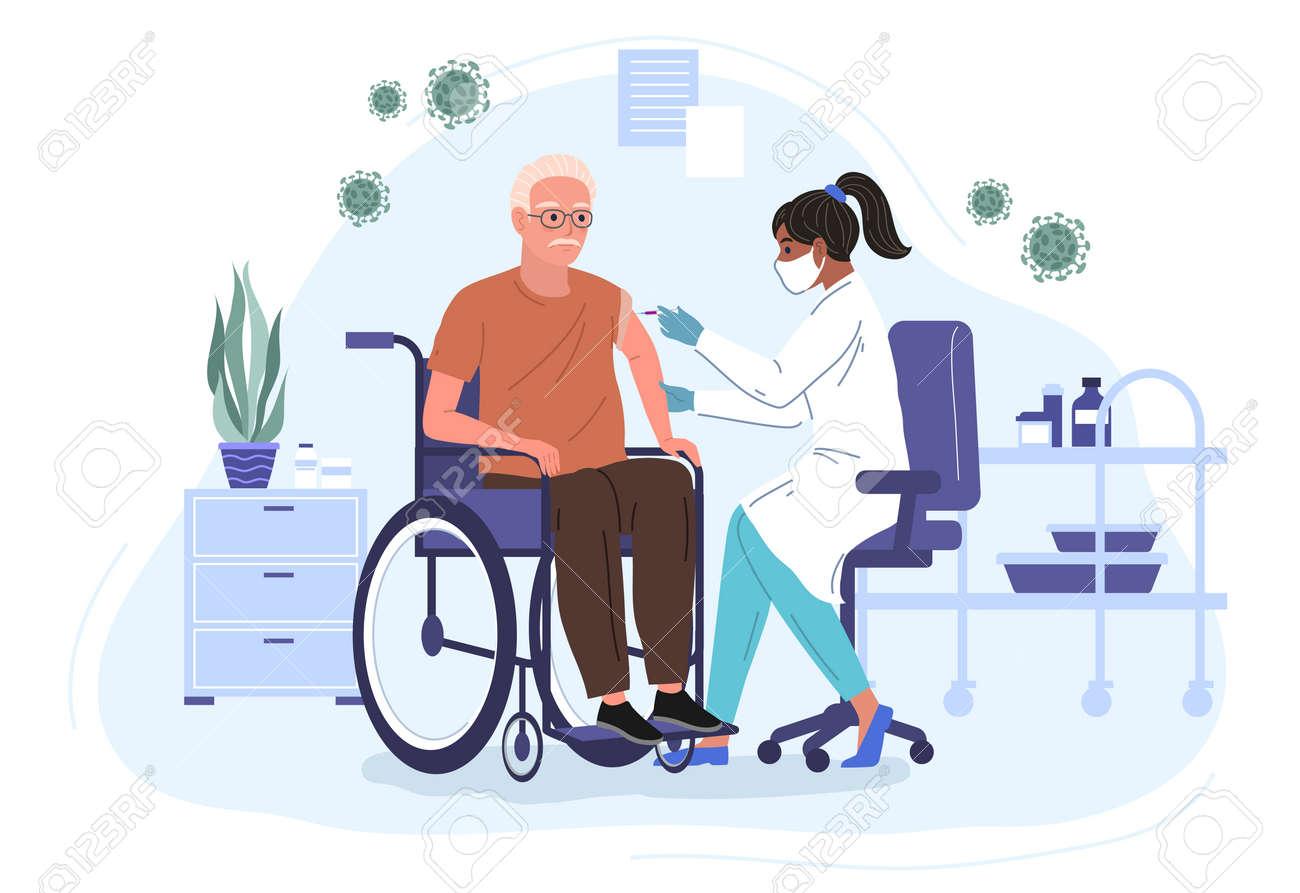 Female Doctor Injecting virus Vaccine to an elderly patient in a wheelchair. Hospital Cartoon Interior. Adult immunization, vaccine flat vector illustration - 173378197