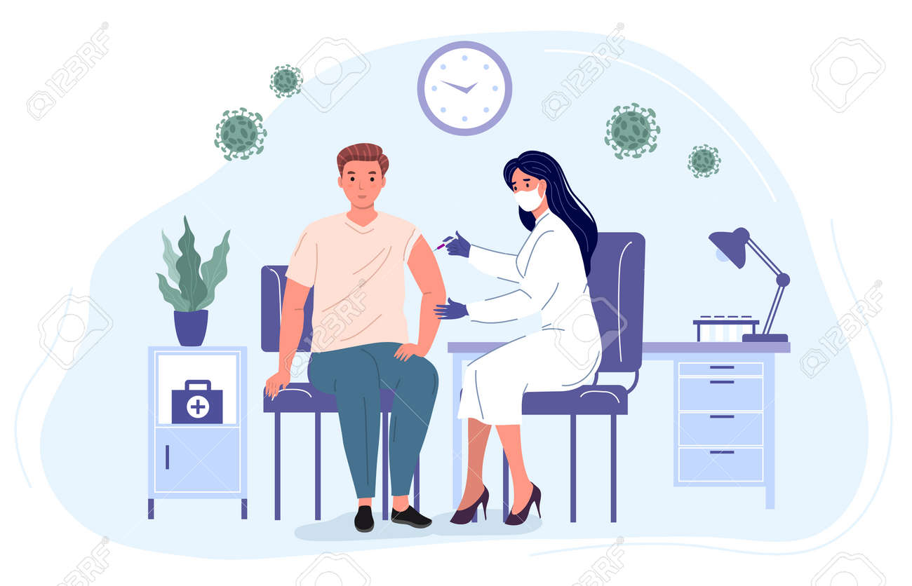 Medical professional makes an injection to a young man. Vaccination of the population from virus. Medicine Healthcare concept vector illustration - 173378201