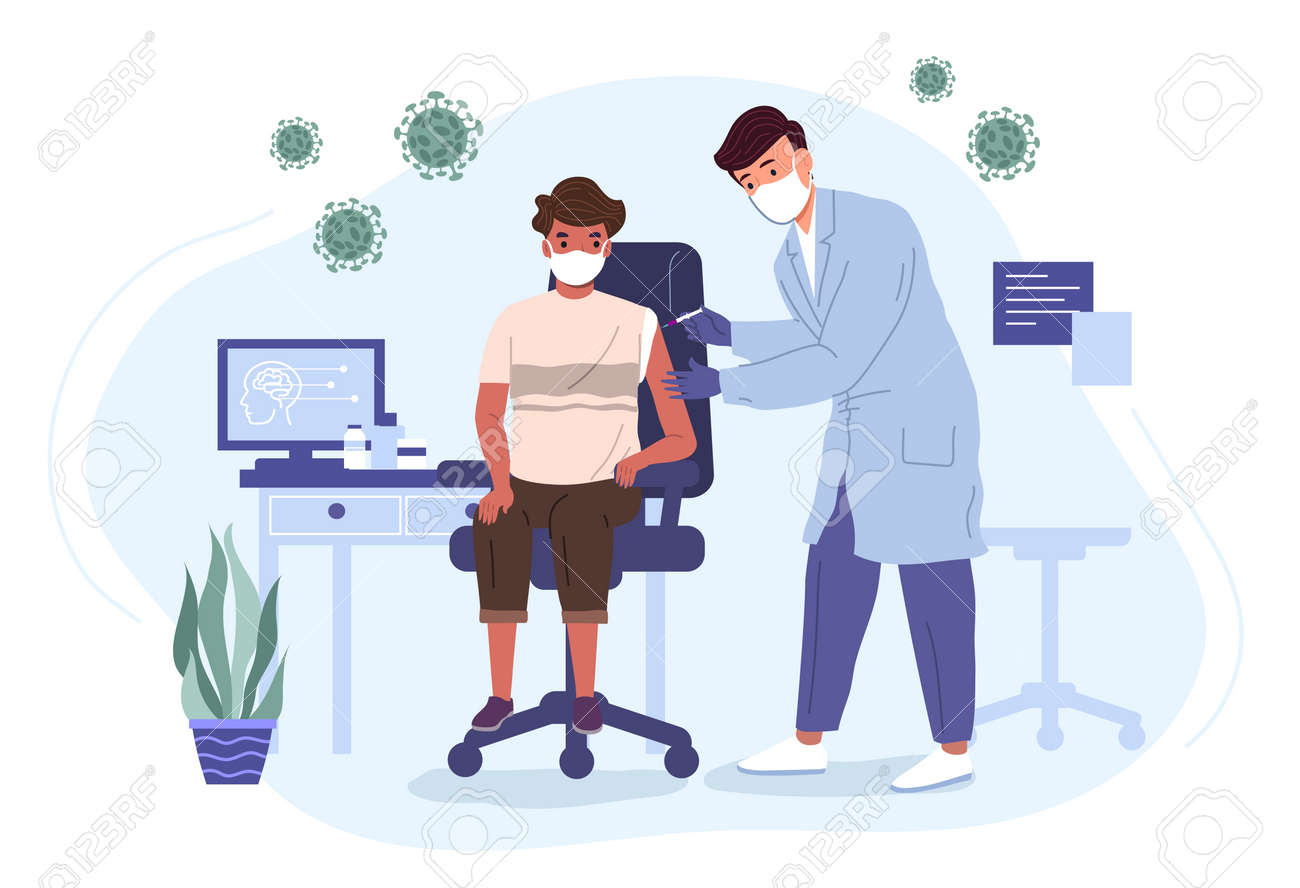 Doctor in a medical gown and mask vaccinates a boy with a virus vaccine. Medicine and health care vector illustration concept. - 173378206