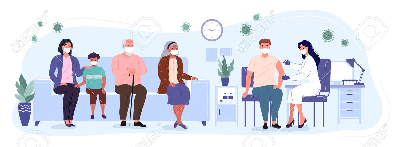 Patients and woman doctor in a medical clinic. People of different ages are waiting in line to receive the vaccine. Vaccination and immunization of the population against virus. Conceptual vector illustration - 173378250