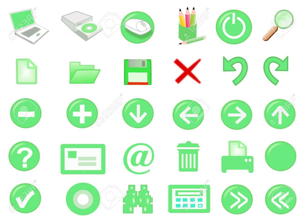 3d computer icon set - computer generated Stock Photo - 859929