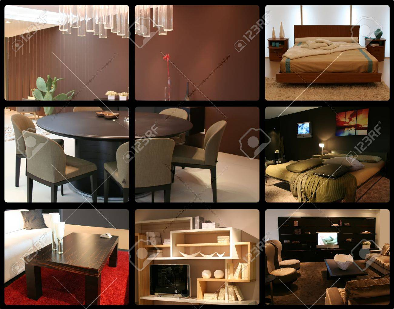 Slaapkamer en woonkamer decoratie ideeën interieur royalty vrije