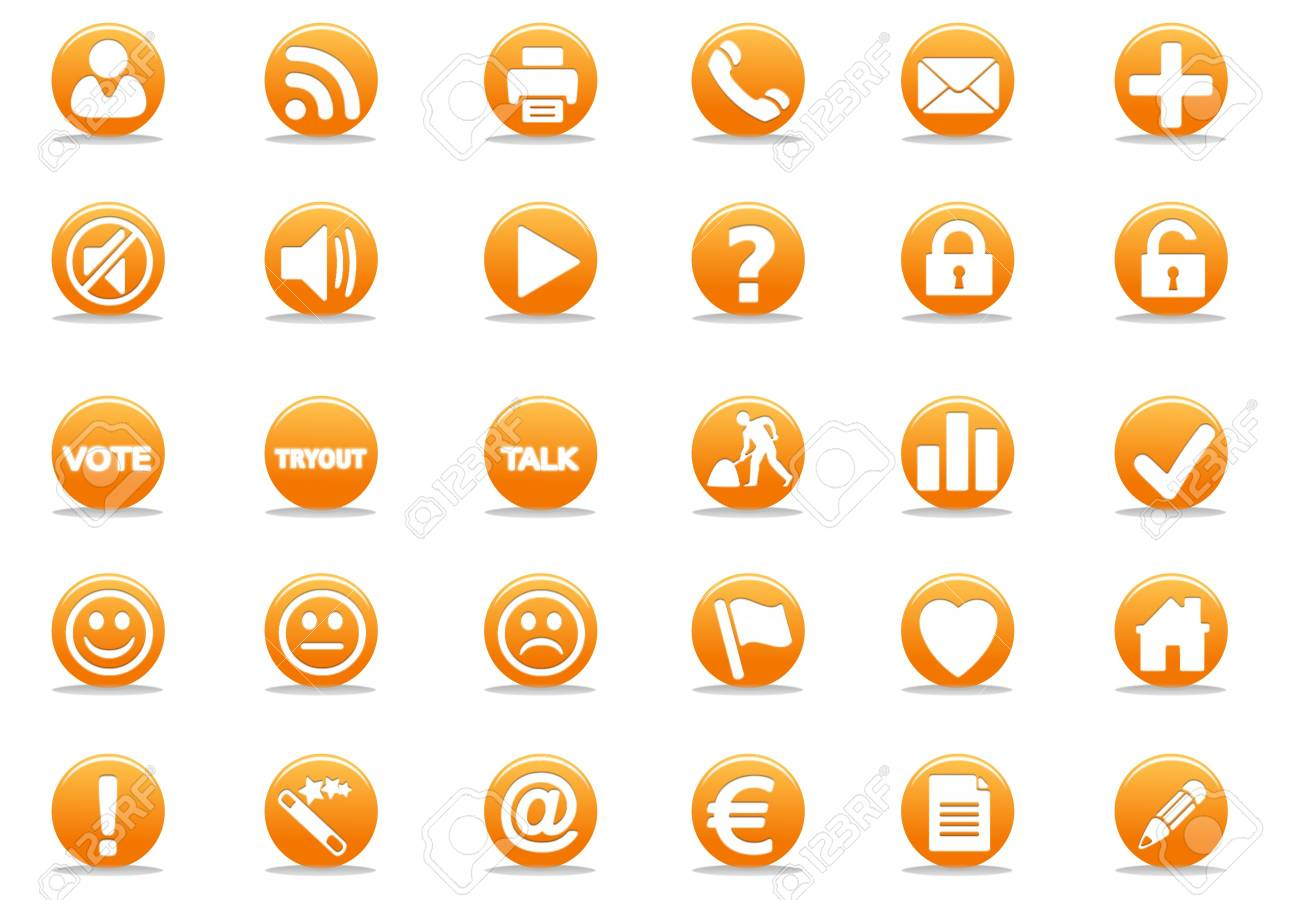 3d orange web icon - computer generated illustration Stock Illustration - 4327466