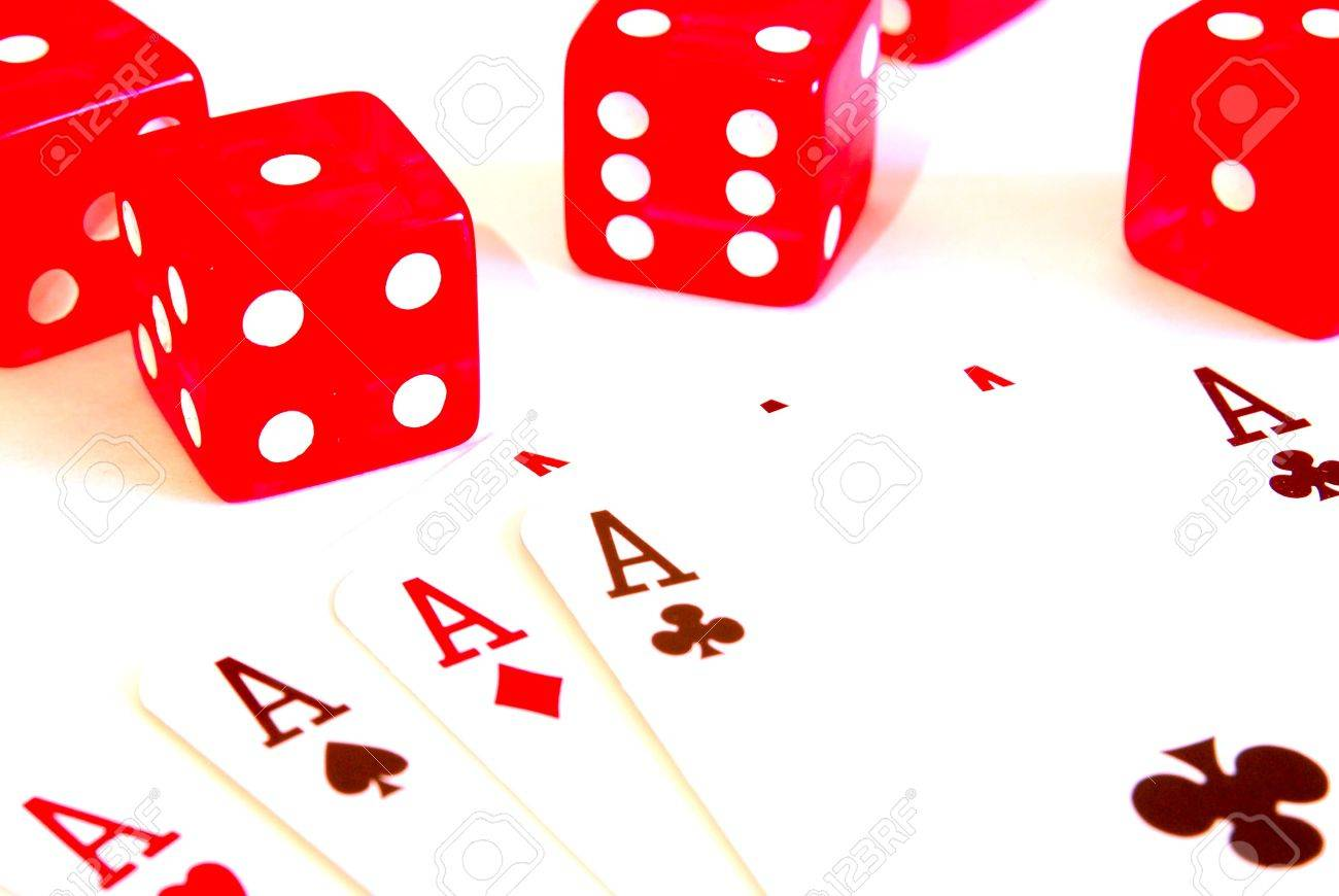 five dice and ace Stock Photo - 6266750