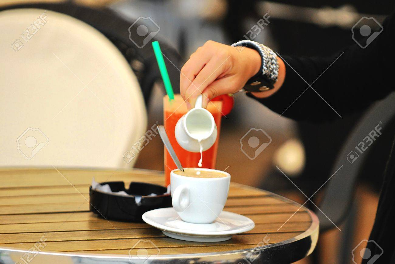 Orange Juice With Cafee And Milk Stock Photo, Picture And Royalty ...