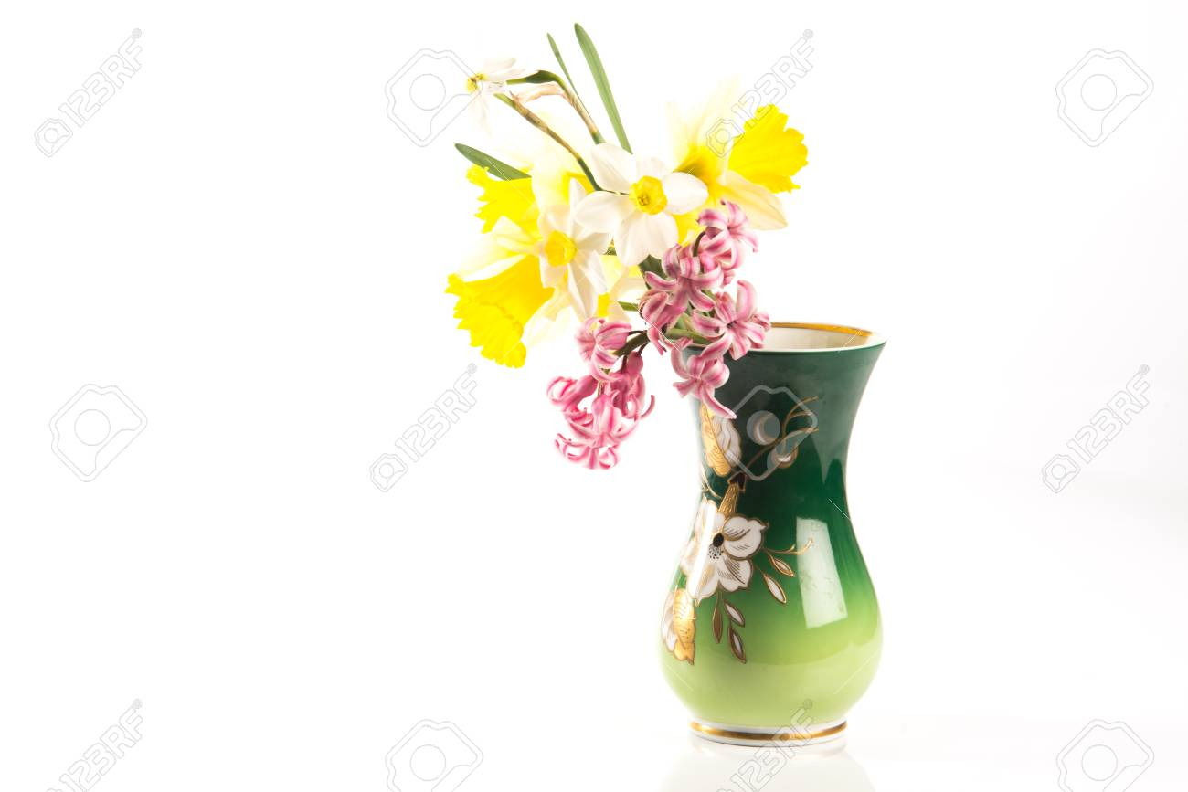 decorated flower vase with spring flowers inside Stock Photo - 92910271  sc 1 st  123RF.com & Decorated Flower Vase With Spring Flowers Inside Stock Photo ...