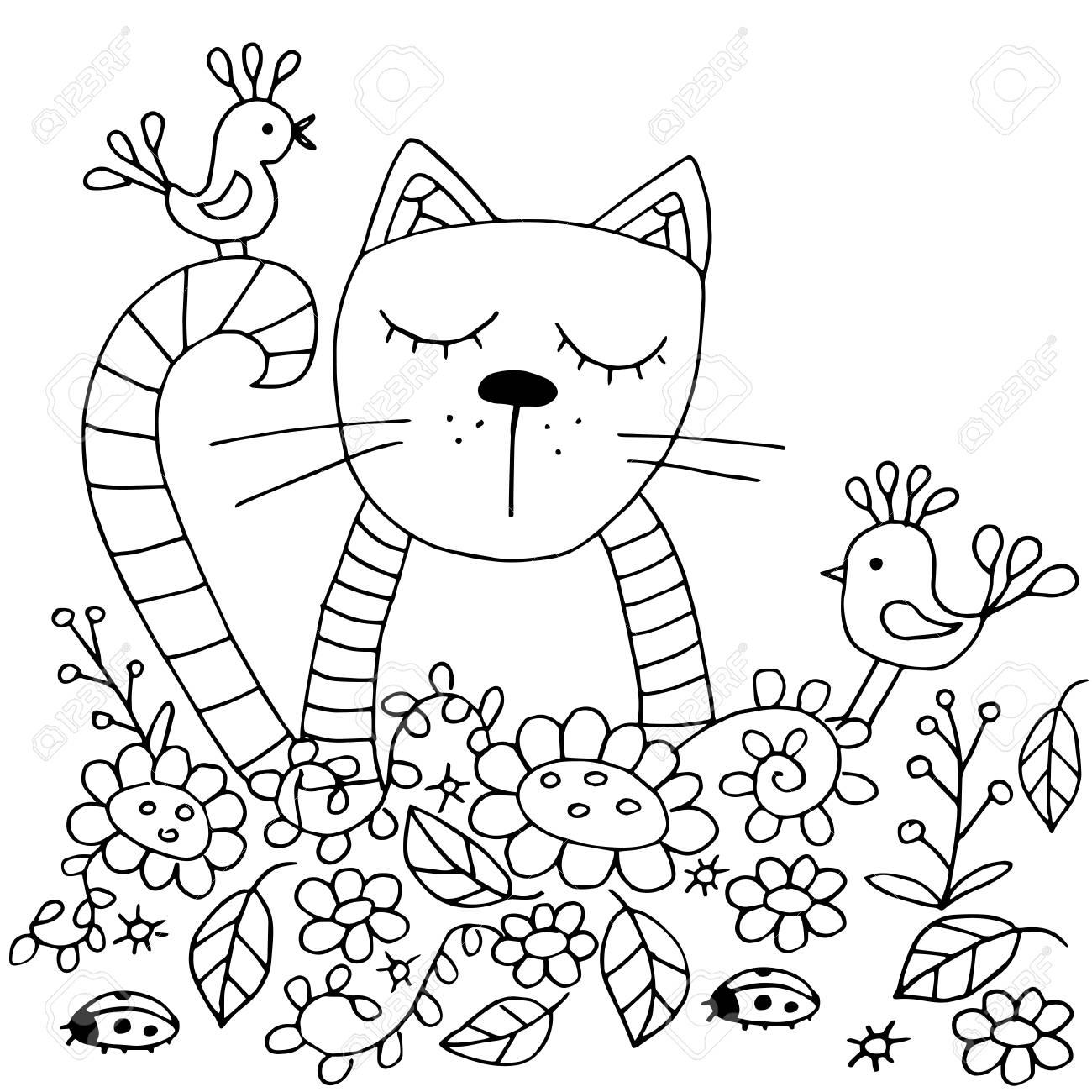 Pagine Da Colorare Originali Di Alta Qualità Per Adulti E Bambini Il Gatto E Gli Uccelli