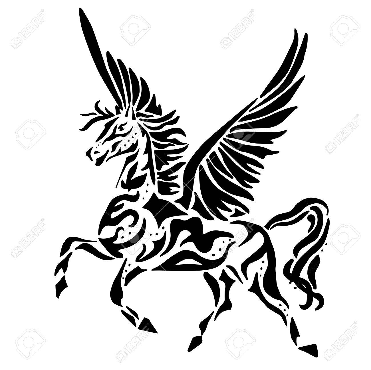 Unicorn With Wings Clipart Black And White
