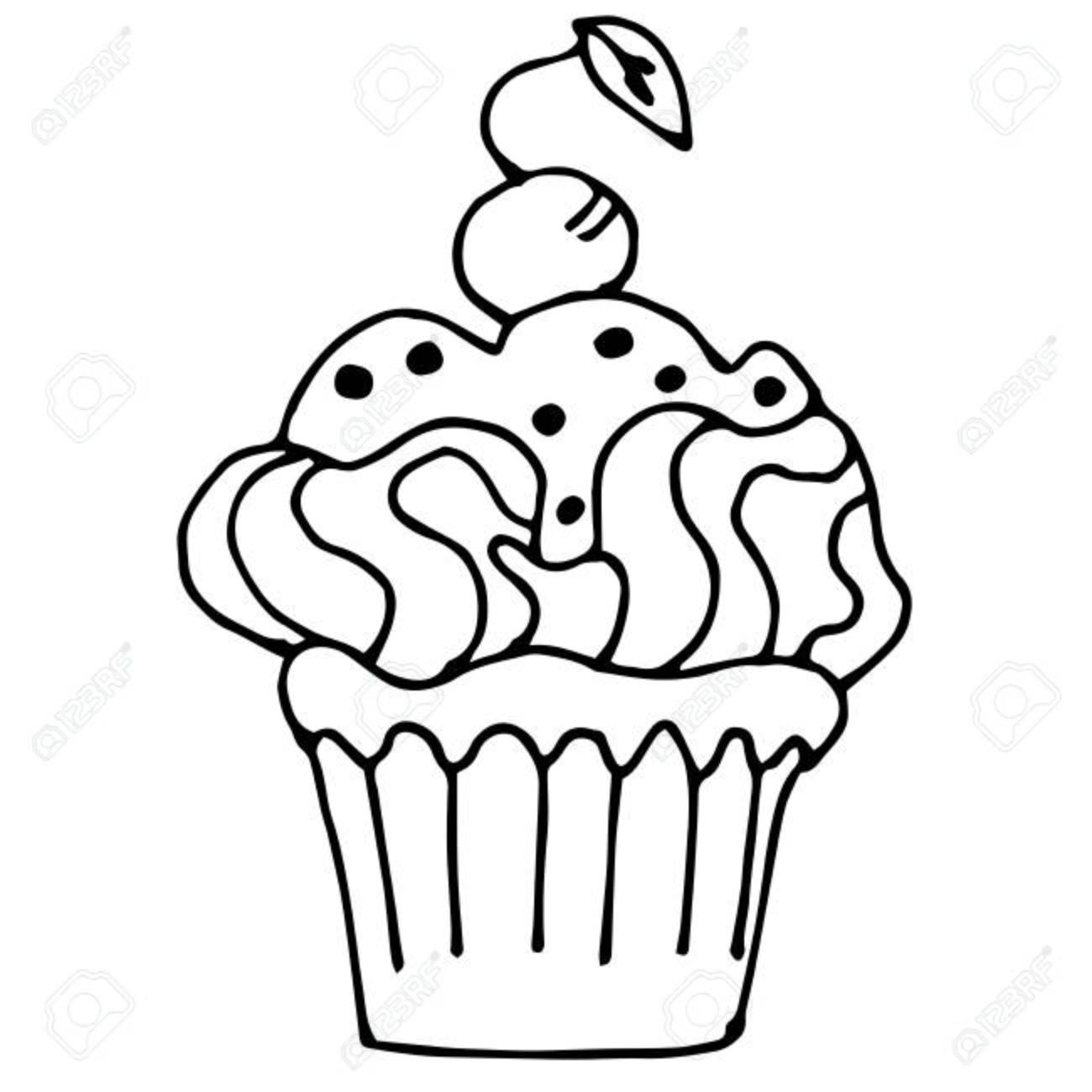 Kuchen Mit Der Erdbeere Kleiner Kuchen Gezeichnet In Die Umreiss