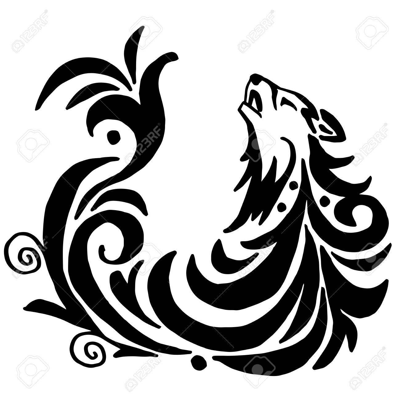 高品質オリジナル狼タトゥー イラスト白背景に分離のイラスト素材