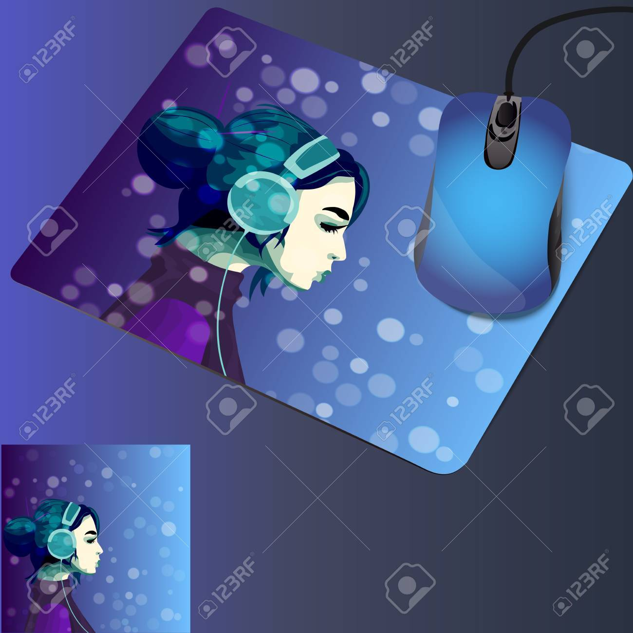very high quality original trendy illustration on mouse pad with..