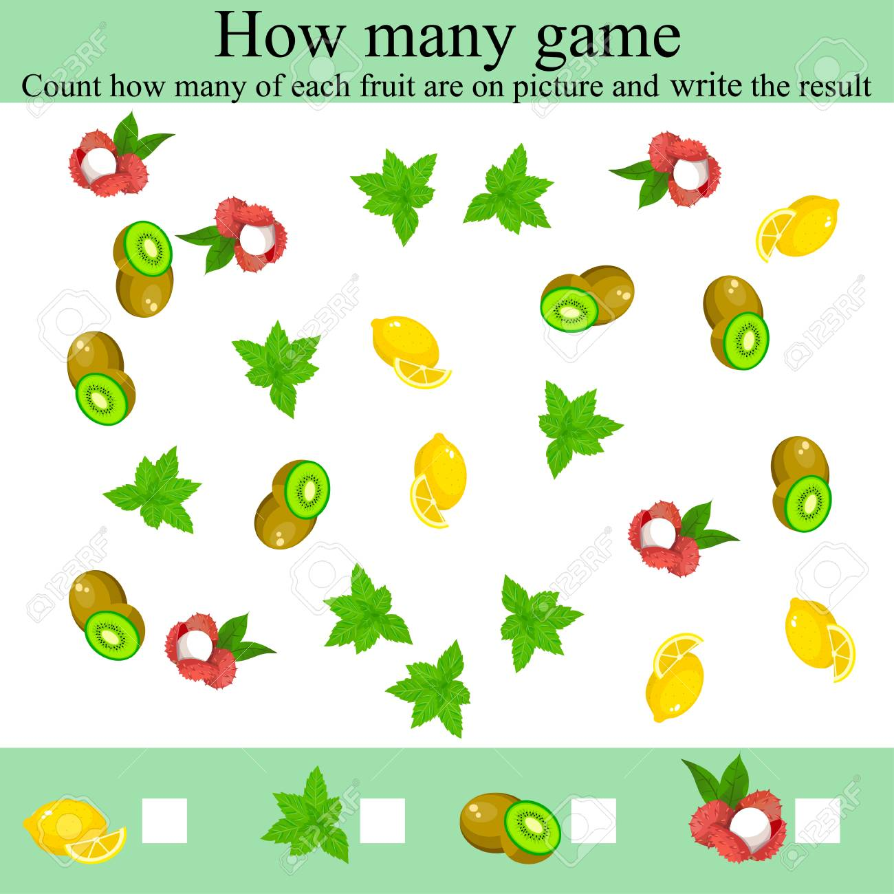 Counting Game For Preschool Children Learning Mathematics Numbers