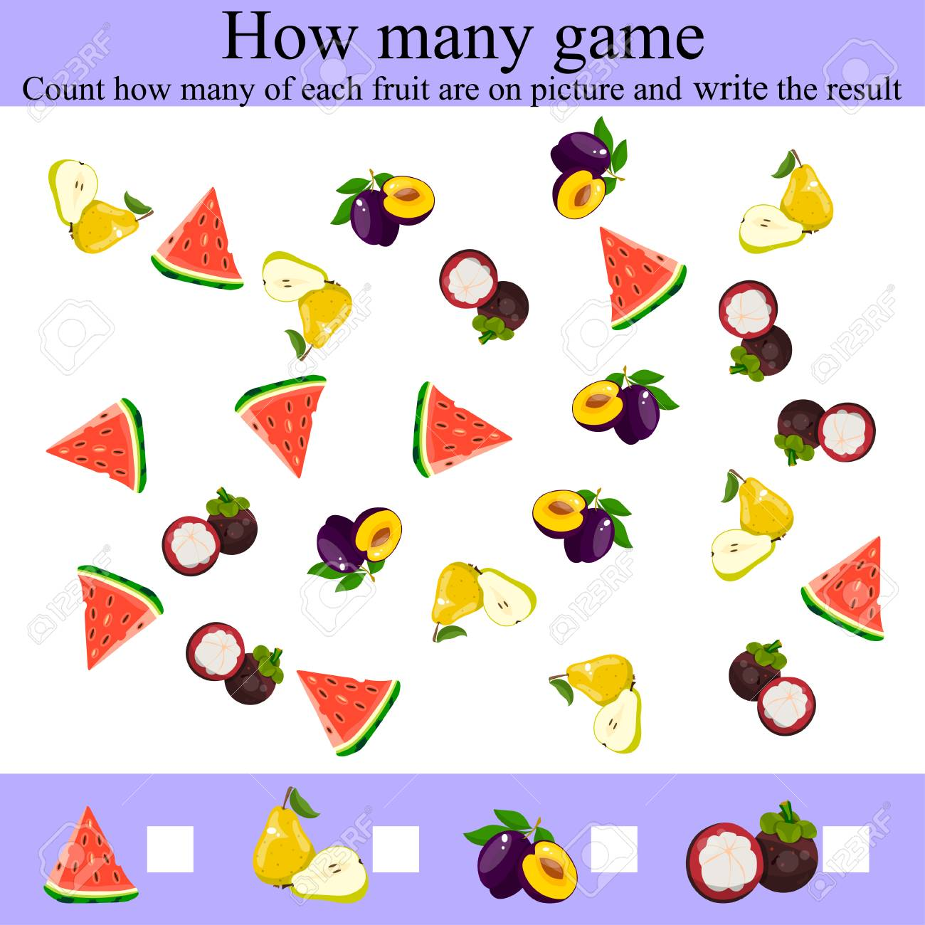 Learning Mathematics, Numbers. Counting Game For Preschool Children ...